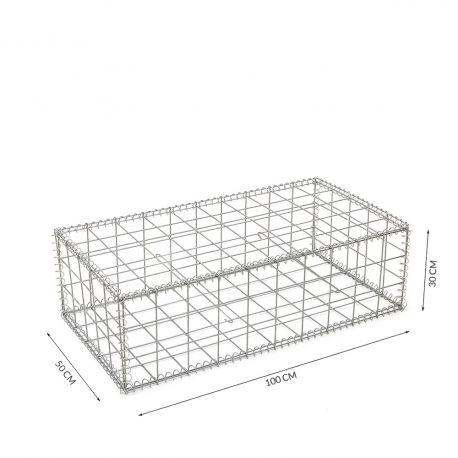 Gabion cage Longueur 100 cm x Epaisseur 50 cm x Hauteur 30 cm fil 4.5 mm qualité professionnel